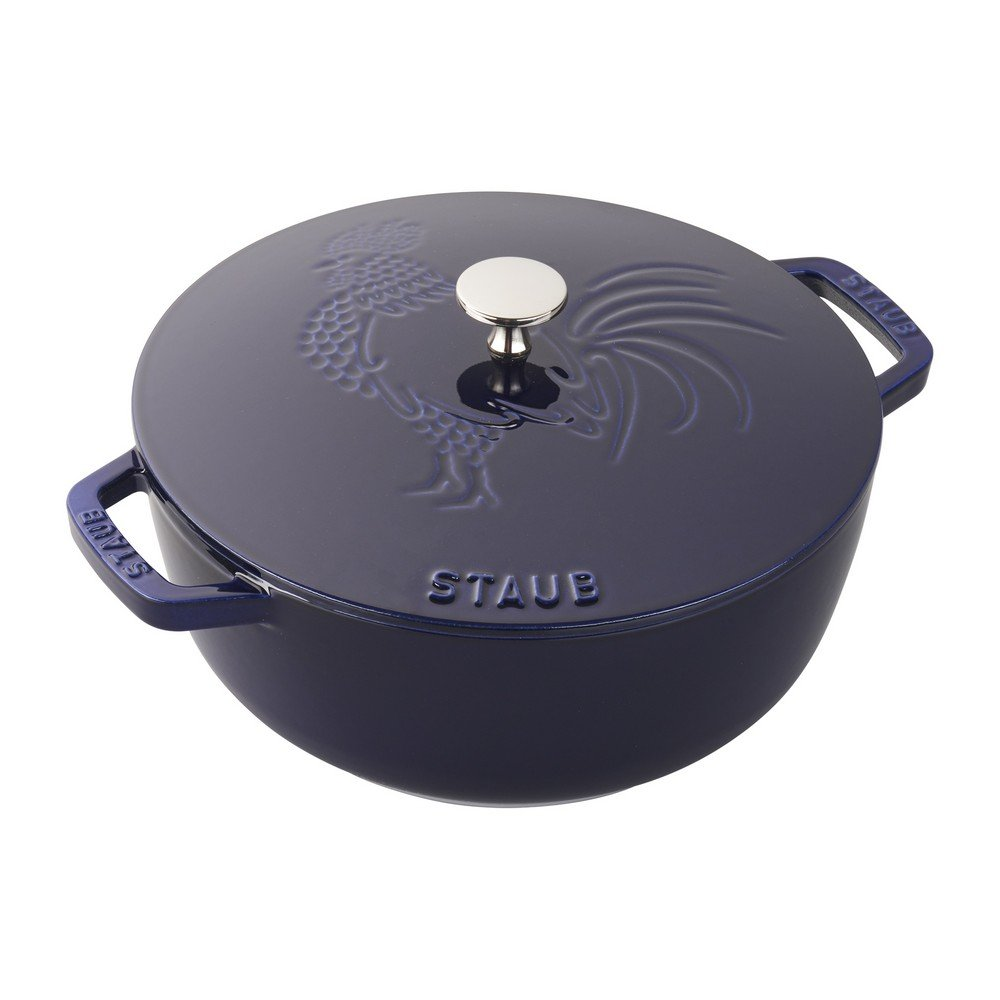Staub Cast Iron 3.75-qt Essential French Oven Rooster (Dark Blue)