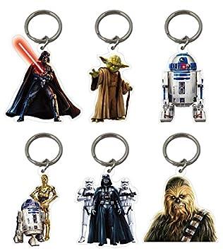 Pack de 6 llaveros oficiales de Star Wars, R2D2, Chewbacca ...