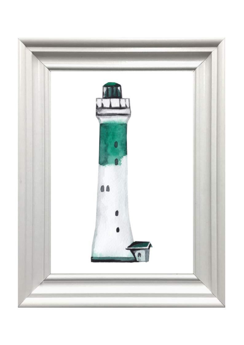 Din A4 Kunstdruck ungerahmt Leuchtturm Lighthouse Maritim Meer gr/ün Badezimmer Aquarell Wasserfarbe Geschenk Druck Poster Deko Bild