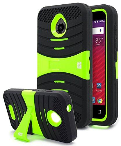Alcatel Ideal Case, Alcatel Ideal 4G LTE Case, Nznd Heavy Duty Hybrid Armor Stand Combo Case for Alcatel Ideal (AT&T) (Green) (Phone Case At&t)