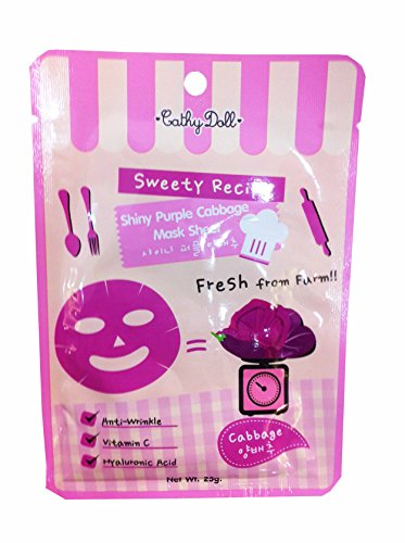 4 Packets of Cathy Doll Sweety Recipe Shiny Purple Cabbage Mask Sheet. Anti-wrinkle, Vitamin C, Hyaluronic Acid. (25 G/ Pack)