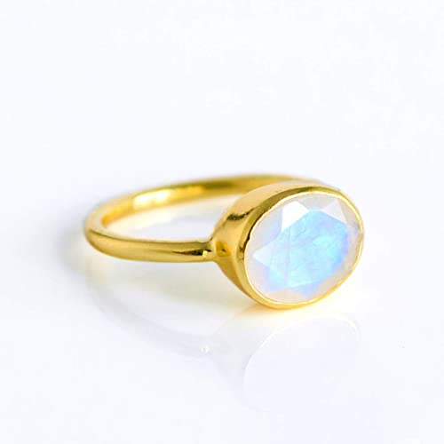 8d87e3844904d Natural Rainbow Moonstone Ring Bezel Set in Sterling Silver or Vermeil  Gold, Oval Shape June Birthstone Ring [RMO]