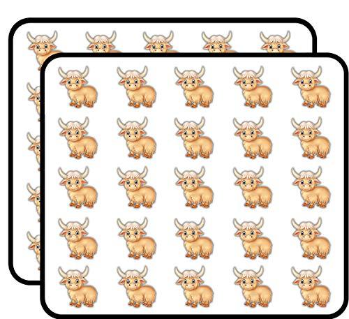 Cute Yak Animal Art Decor Sticker for Scrapbooking, Calendars, Arts, Kids DIY Crafts, Album, Bullet Journals 50 Pack