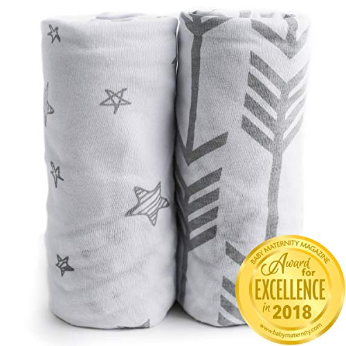 Changing Pad Cover Sheets | Premium 100% Jersey Knit Cotton Diaper Changing Pad Cover | Changing Table Pads Liner | Washable | Cradle Sheet Set | Boy 2 Pack | Super Soft | Safe for Babies | Grey ()