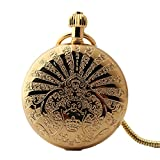 Zxcvlina Classic Smooth Copper Mechanical Pocket Watch Creative Unisex Gift Retro Pocket Watch Golden with Chain Suitable for Gift Giving