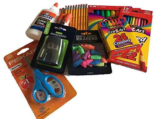 Classroom Supply Pack Bundle -Safety-Edge Scissors, 24 Crayons, 12 color pencils, 20 pencils with sharpener, Elmer's Glue sticks, 4oz Elmer's Glue, 10 washable markers, 25 eraser toppers. Slime Eraser