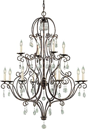 - Feiss F1938/8+4MBZ Chateau Crystal Large Candle Chandelier Lighting, Bronze, 12-Light (36