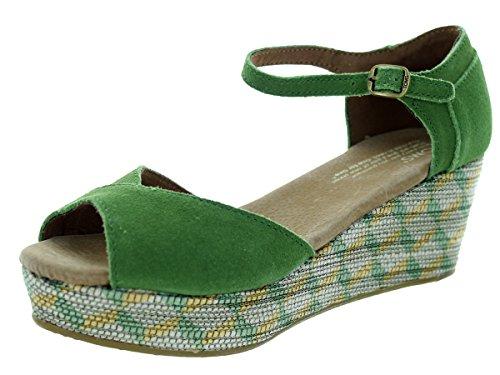 Toms Women's Platform Wedge Green Suede Casual Shoe 6 Women US