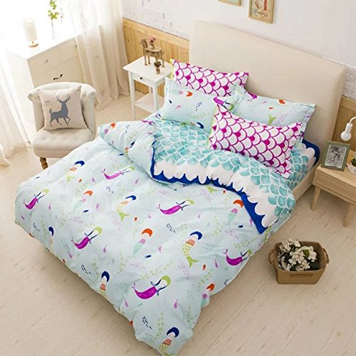 Price comparison product image Sandyshow 2PC Mermaid Bedding For Kids Twin Microfiber Duvet Cover Set