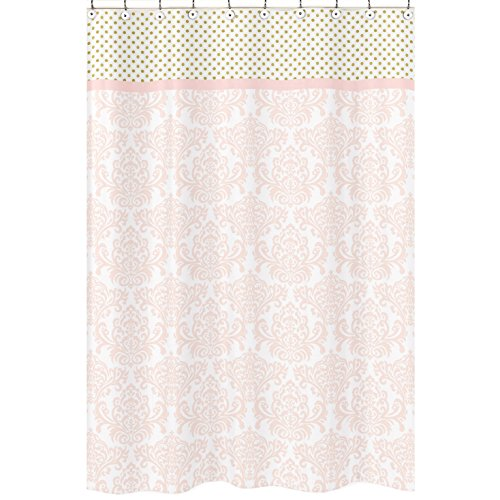 Sweet Jojo Designs Blush Pink White Damask and Gold Polka Dot Amelia Girls Kids Bathroom Fabric Bath Shower Curtain by Sweet Jojo Designs