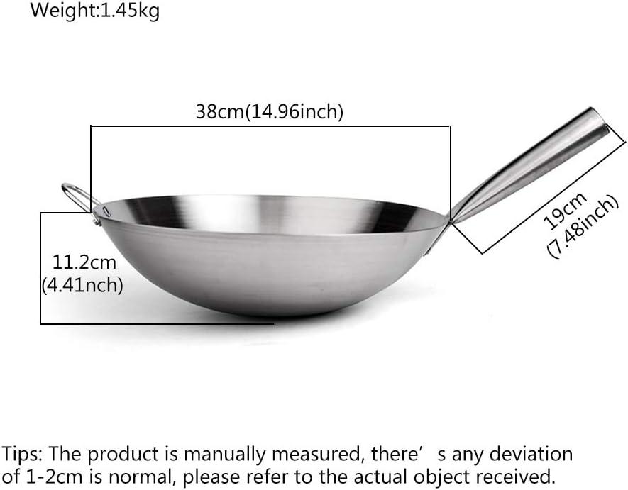 Wok INOX sans rev/êtement,professionnel Pan Po/êle /à frire//saut/ée Pan Plaque de cuisson avec poign/ée Wok Acier Inoxydable Argent,36cm