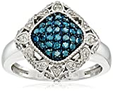 Sterling Silver Blue and White Diamond Cushion Ring (1/2 cttw, J-K Color, I2-I3 Clarity), Size 7