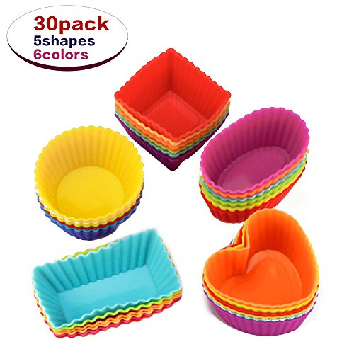 Cupcakes liners 30 Pack, Reusable Silicone Baking Cups, Nonstick Muffin Cake Molds, 5 Shapes 6 Color, for Making Gelatin, Snacks, Frozen Treats, Ice Cream or Chocolate Shell-lined Dessert by Lylyzoo