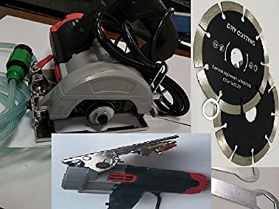 5 Inch Wet Stone Cutter 15 Extra Carbon Brush 12 Diamond Segmented Cutting Blade for natural stone granite marble masonry ceramic tile floor counter top brick block portable wet dry use saw