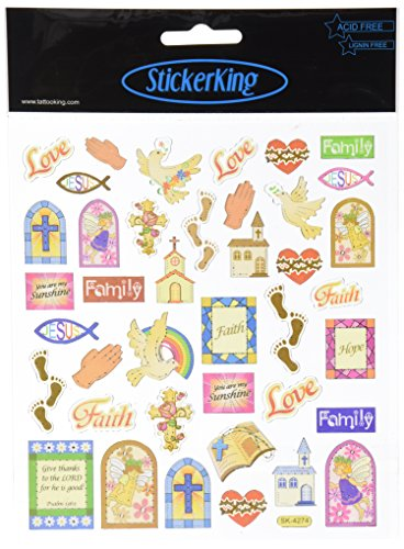 Tattoo King Multi-Colored Stickers-Religious