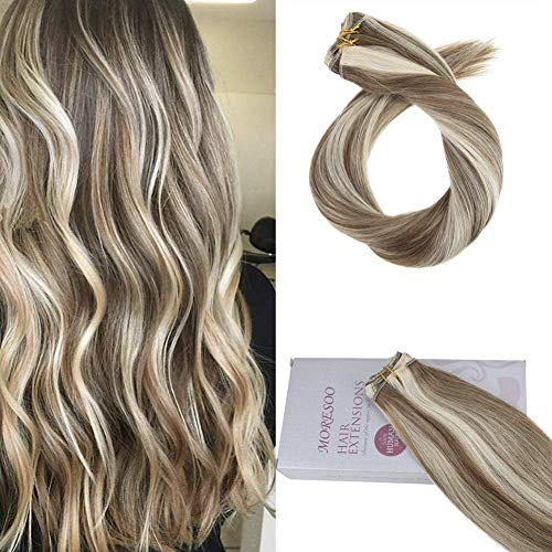 Moresoo 18 Inch Weft Sew in Hair Extensions Human Hair 100g/bundle Colorful #6 Highlighted with #60 Blonde Hair Weaving/Hair Weft Double Wefted Human Hair Natural Hair