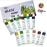 Happlee 12 Colors Glass Paint, Non-Toxic Transparent Glass Painting Supplies for Glass, Porcelain, Window, Stone, Vibrant Colors Glass Paint Set (0.41 fl.oz)