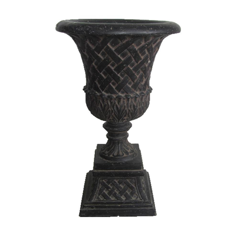 16.25'' x 26.50'' Cast Stone Lattice Urn and Pedestal in Aged Charcoal Planter Urn by MPG Sport