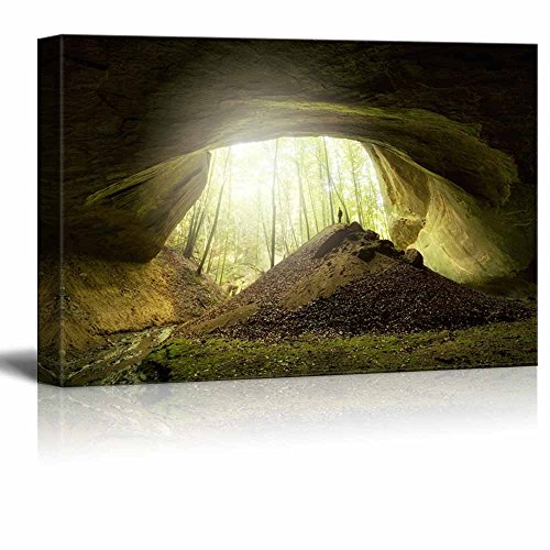 Big Cave with Explorer Standing at The Entrance Home Deoration Wall Decor ing