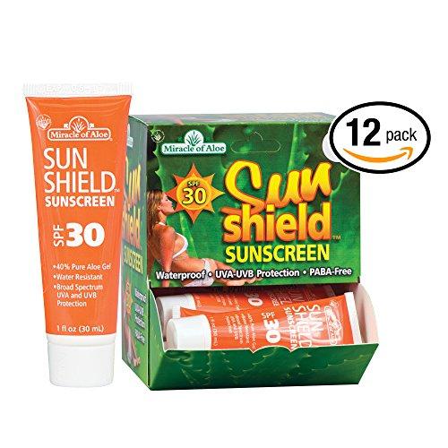 12-Piece Display SunShield SPF-30 Sunscreen 1 Ounce Tube with 40% UltraAloe