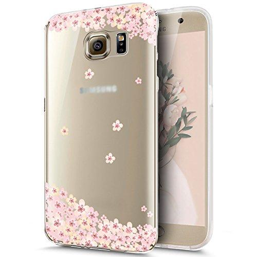 Funda Samsung Galaxy S8 con Anillo cariñoso,SainCat Suave Silicona y Brillante Caja Protectora con Chispea Diamante Bring Glitter de Transparente ultra fino Funda de silicona de goma de TPU para Caso  Melocotón