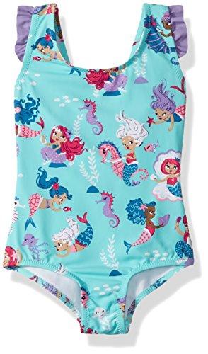 Bow Back Ruffle Swimsuits, Underwater Kingdom, 6 Years (Hatley Kids Girls Clothing)