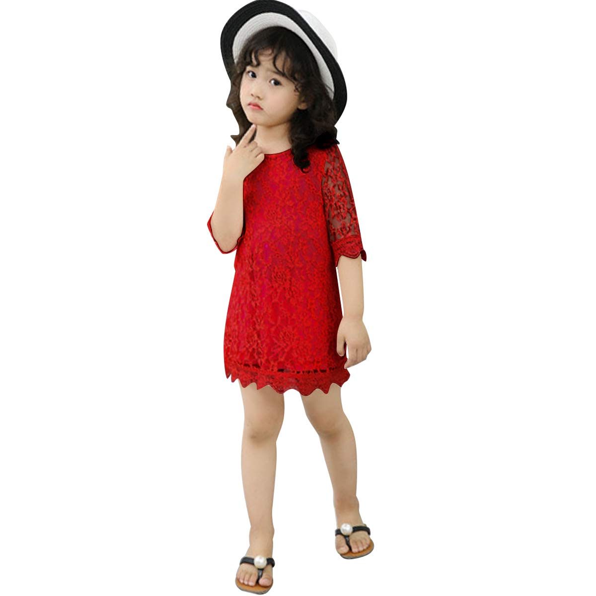 5ea2bd44 Baby.Yep Short Lace Flower Girl Dress with Illusion Sleeves (Red, 100)