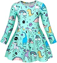 AmzBarley Unicorn Dress Girls Long Sleeve Cotton Cartoon Casual Dresses Kids Striped Nightdress