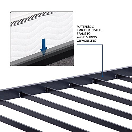 Olee Sleep 14 Inch Heavy Duty Steel Slat/ Anti-slip Support/ Easy Assembly/ Mattress Foundation/ Bed Frame/ Maximum Storage/ Noise Free/ No Box Spring Needed, Black