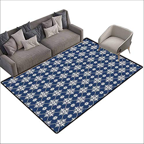 (Interior Door Rug Bathroom Rug Slip Blue Checkered Pattern with Abstract Spring Blossoms Folkloric Holland Cultural Pattern Anti-Fading W6'7 x L7'10 Blue White )