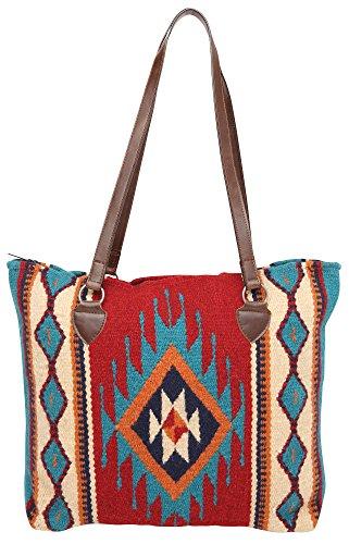 Large Tote Bag, Women's Mayan Hand-woven Wool Tote Purse (A La Jolla L) ()