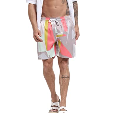 a3e88b5a00404 ZRICKIE Mens Swim Trunks Printed Fixed Waist Board Shorts with Mesh Lining:  Amazon.co.uk: Clothing