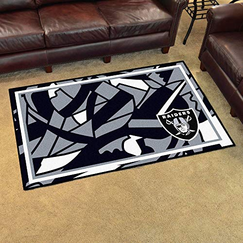 4'x6' NFL Oakland Raiders Rug Sports Football Area Rug Team Logo Printed Large Mat Floor Carpet Bedroom Living Room Lounge Home Decor Athletic Game Fans Gift Nonslip Backing Ultra Plush Soft Nylon ()