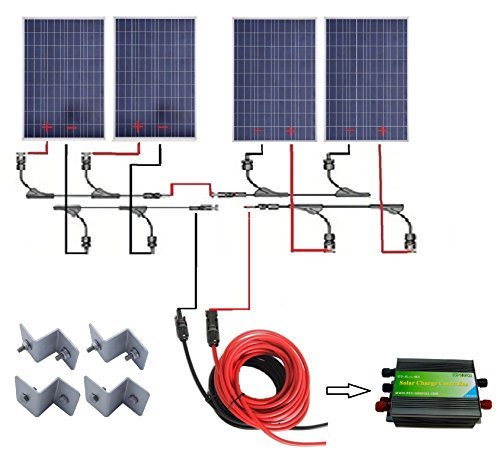 ECO-WORTHY 400w Watts Poly Complete Kit: 4pcs 100W Solar Panels Module+30A PWM Charge Controller+Solar Cable+MC4 Branch Connectors+Z Style Bracket Mounts