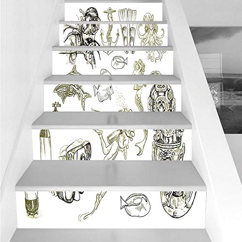 Stair Stickers Wall Stickers,6 PCS Self-adhesive,Diving,The Life of Aquatic Themed Marine Mermaid Snorkeling Octopus Sketchy Design Decorative,Olive Green White,Stair Riser Decal for Living Room, Hall