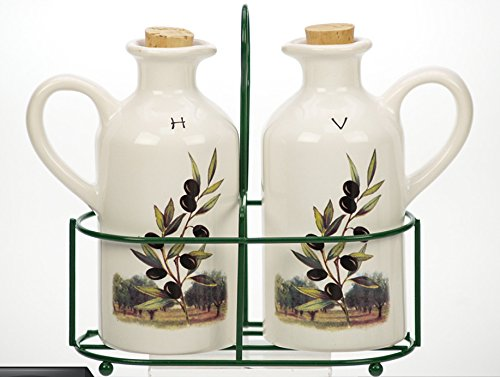 French Inspired Ceramic Olive Design Oil and Vinegar Pitchers in Wire Holder ()