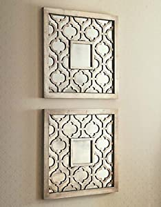 Silver Square Fretwork Wood Mirror Wall Art Pair Amazon