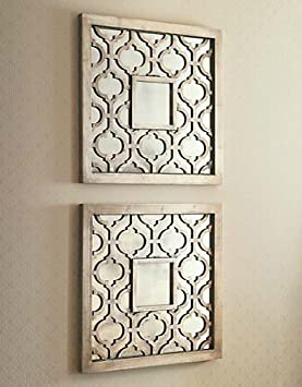 amazoncom silver square fretwork wood mirror wall art pair home kitchen - Mirrors And Wall Art