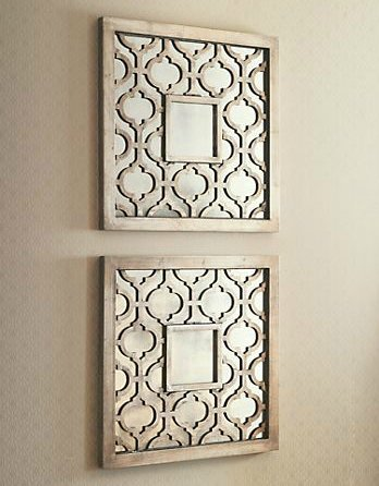 mirrored wall art uk silver square fretwork wood mirror pair sale decor