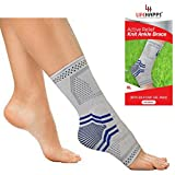 Lifehapps Active Relief Ankle Brace w/Gel Pads -Support Sleeve for Plantar Fasciitis, Heel Spurs, Achilles Tendon, Joint Pain, Sprains and Swelling. Compression Sock Aids (Gray, Extra Large)