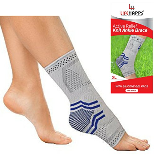 Lifehapps Active Relief Ankle Brace w/Gel Pads -Support Sleeve for Plantar Fasciitis, Heel Spurs, Achilles Tendon, Joint Pain, Sprains and Swelling. Compression Sock Aids (Gray, Extra Large) by Lifehapps