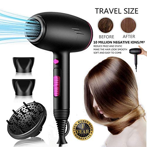 Travel Hair Dryer Ionic Small Blow Dryer with Diffuser Professional Salon Effect Mini Compact Hair Dryers - Beauty Hair Care Styling Tools Hand Held for All Hair Types 2300W Mothers Day GIfts (Best Compact Dryers 2019)