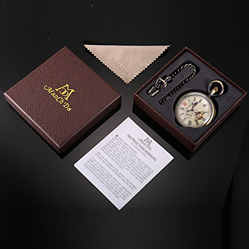 Skeleton Pocket Watch - Horizontal Open Face Phases Moon Sun 24-Hour Coper Chain by ManChDa (Image #6)'