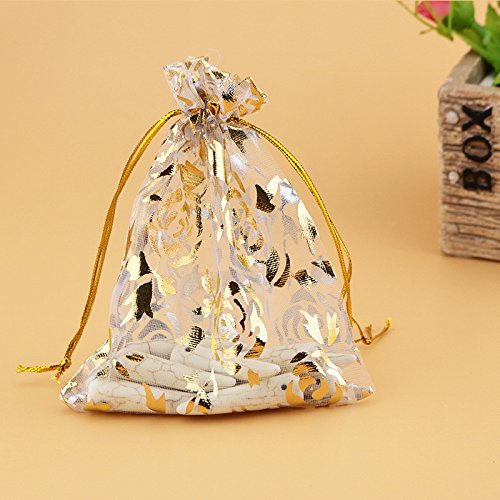 (elegantstunning 100pcs Drawstring Organza Jewelry Favor Pouch with Gold Rose Print Bags for Gift/Wedding/Party/Festival 79CM White)