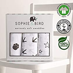 Sophie & Bird 100% Organic Cotton Baby Muslin Swaddle Blankets | Extra Large, 47x47 inches | 3 Pack | Pre-washed, Seriously Soft and Breathable | GOTS-Certified, Eco and Sustainable | Perfect Gift