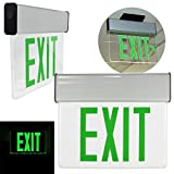 GHP Green 13''x10.75''x1.75'' Aluminum Extrusion Edge Lit LED Emergency Exit Sign