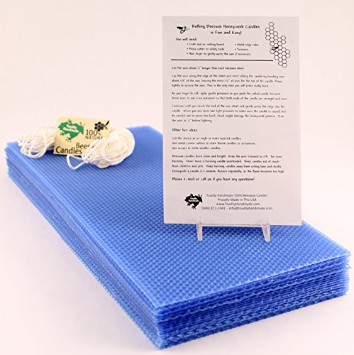 (Make Your Own Beeswax Candle Kit - 20 Full Size 100% Beeswax Sheets in ROYAL BLUE (Approx. 16 1/4