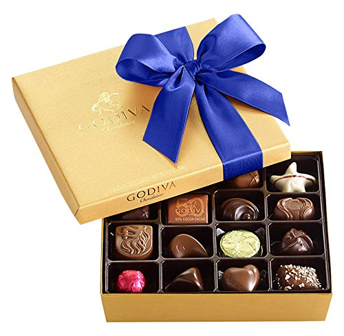 Godiva Chocolatier Chocolate Gold Gift Box, Assorted Chocolates, Royal Ribbon, Holiday Gift Box, 19 Count
