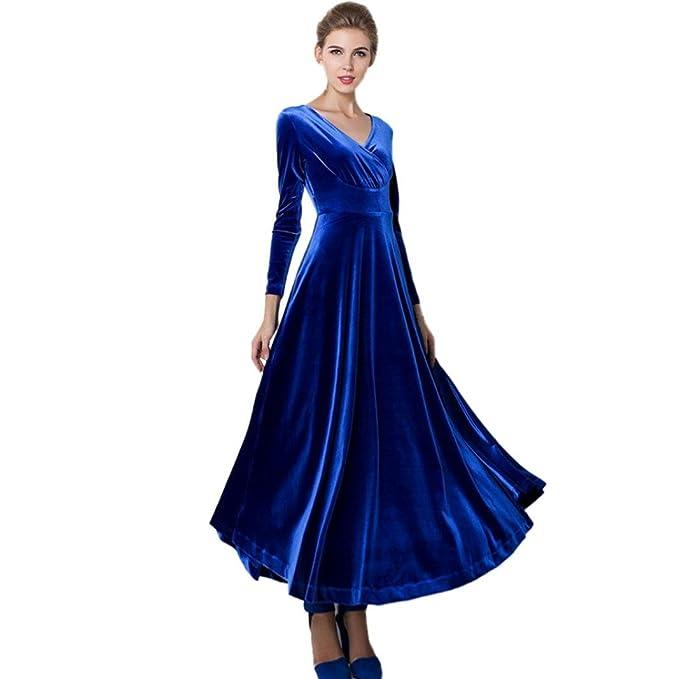 627be98b2af4ee Damen Kleider Frauen Samtkleid Langarm Abendkleid A Line Vintage Mini Kleid  Partykleid Cocktailkleid Herbst Winter Maxikleid