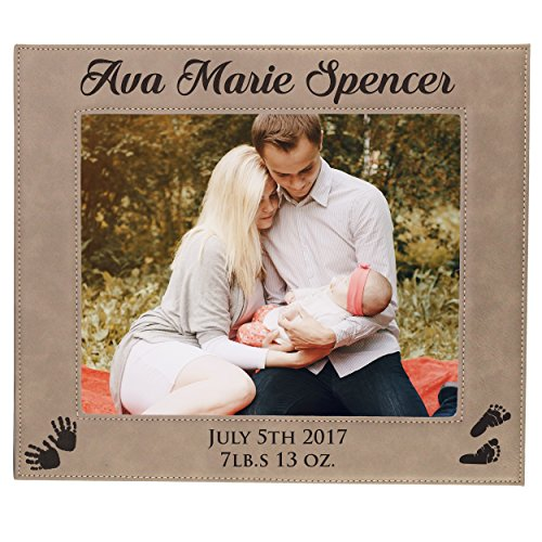Personalized New Baby Photo Frame - Custom Engraved Boy Girl Picture Frame Gift - Monogrammed for Free (8 x 10)